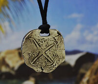 Piece of Eight Pirate Coin Pendant Necklace in Fine Pewter Made in USA