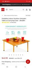 Portable roll up real wood travel table