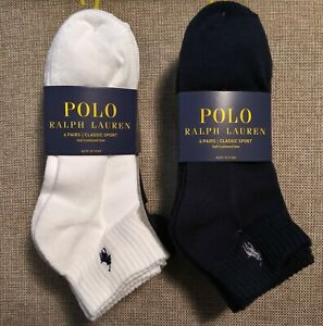 Men Ralph Lauren Polo Quarter Ankle Socks 6 pairs (CHOOSE YOUR COLOR COMBO)