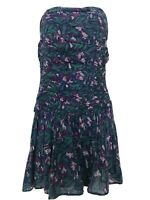 Vintage ANOKHI Dress Strapless Mini Floral Cotton Size 8 VGC