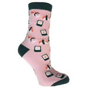 Sock It To Me Gamer Anime 90s 2000s Japanese Sushi Womens Pink Green Crew Socks