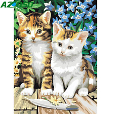 Two Lovely Cat Animals Canvas Picture Acrylic DIY Paint Set by Numbers Kits Gift