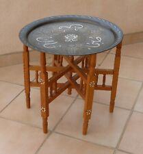 Table pieds en bois plateau laiton incrustations cuivre et argent art marocain
