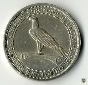 WEIMAR, 3 Mark, 1930 J, Räumung des Rheinlandes, Jg. 345, vorzüglich
