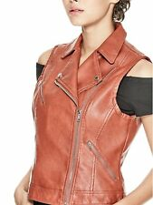 GUESS Vest Womens Fitted Faux Leather Moto Vest S/Less Jacket XL Burnt Brick NWT