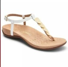 Vionic Orthaheel REST MIAMI Embellished Leather T-Strap Sandals White 9.5 W NIB