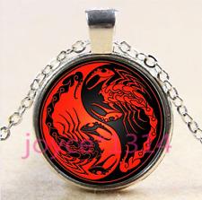 Yin Yang Scorpion Cabochon Tibetan silver Glass Chain Pendant Necklace #4224