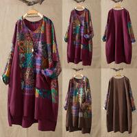 Ladies Women Long Sleeve Cotton Linen Print Blouse T-Shirt Pocket Tunic Tops 998