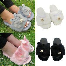 Girls Furry Sliders Kids Fluffy Rabbit Cute Slippers Mules Flip Flops Shoe Size