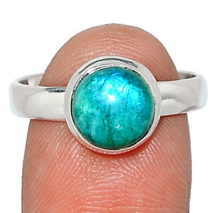 Green Rainbow Moonstone 925 Sterling Silver Ring Jewelry s.8.5 BR105083