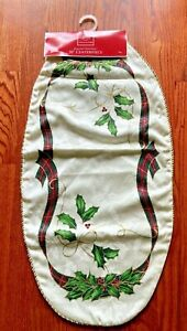 """Lenox 30"""" Table Runner Holiday Nouveau Holly Berries Oval American By Design New"""