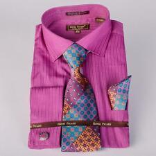 Men's Henri Picard Plum Toned Striped Collar Cuffs Dress Shirt Tie Hanky