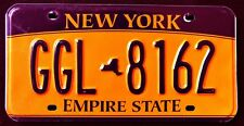 "NEW YORK "" EMPIRE STATE - GOLD - MAP "" GGL 8162 ""  NY Graphic License Plate"