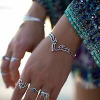 Retro Bangle Boho Triangle Hollow Bracelet Cuff Silver Plated Jewelry Creative