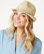 Nine West Woven Straw Packable Fedora Hat Sand Heather #C313