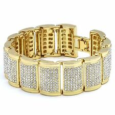 """Men's Gold Plated Dome Link Iced Out Clear Cz Stones Hip Hop Bracelet 9"""" Inches"""