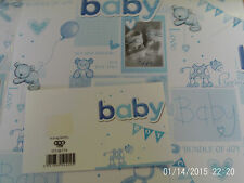 Baby Boy Traditional Wrapping Paper 2 Sheets 1 Gift Tag