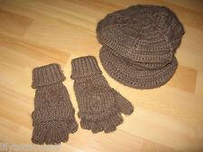Bilook - Bonnet casquette et mitaines en laine marron - 5/8 ans