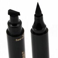 Waterproof 2 in 1 Pro Winged Eyeliner Stamp Makeup Eye Liner Pencil Black Liquid