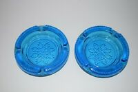 "2 Vintage Cobalt Blue Glass Ashtrays w/ Flower Pattern 4 1/2"" Diameter"
