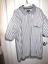 HARBOR BAY CASUAL GOLF SHIRT BIG MAN SIZE 4XLT GRAY WHITE STRIPED SHORT SLEEVE