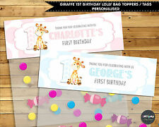 GIRAFFE JUNGLE 1ST BIRTHDAY LOLLY BAG TAG PERSONALISED FAVOUR LOOT TOPPER THANK