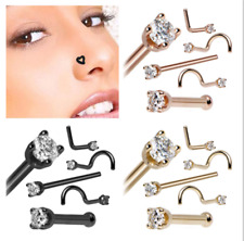 5pcs/set Copper Solid Zircon Nose Ring Stud Screw L Bend Bone Disc 0.8mm (1g)