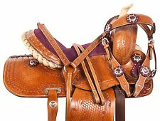 PURPLE BARREL RACING KIDS SEAT WESTERN SHOW LEATHER PONY SADDLE TACK 10 12 13
