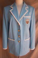 Jacket Blazer  12-14  Escada  Crest  Solid Blue Wool Blend    Germany Mondi