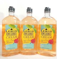 Three Bath Body Works Lemon Pomegranate Cream Shower Gel Body Wash 10 Oz Awesome
