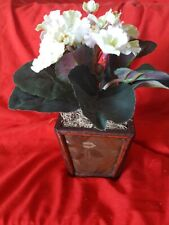 """Small Silk Flowers in Wooden Pot 10""""x6"""""""