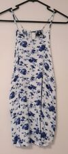 Ally Blue & White Floral Summer Tank Top Blouse Size 16