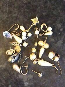 Superb Vintage Job Lot Of Odd Earrings Jewellery For Repurposing,Craft,Scrap Ect
