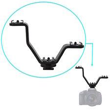 Aluminum 3.5 inch Y Mount V-shape Triple 3 Shoe Flash Bracket DSLR Camera Studio
