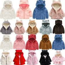 Child Kids Girls Winter Warm Bear Bunny Ears Hooded Fleece Coat Jacket Clothes