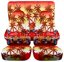 red palm tree design car seat covers front+back fit 1997-2002 jeep wrangler