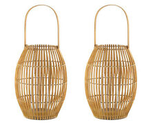 2 large brown bamboo rattan basket framework Candle holder boho floor Lantern