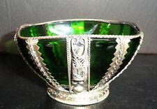 Art Deco Glass Bowl Ornate Silver plate Decoration Very Pretty Green
