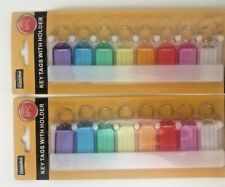 2 X 8pc Multicolor Key Tags With Holder-I.D Tags-Lable Window-USA SELLER