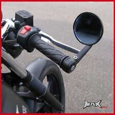 Pair of Round Universal Bar End Motorcycle Rear View Vision Motorbike Mirrors