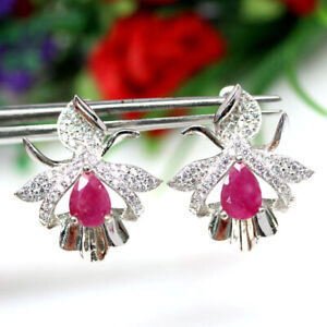 NATURAL PINK RUBY & WHITE CZ EARRINGS 925 SILVER STERLING