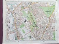 "LONDON WANDSWORTH CLAPHAM BALHAM TOOTING  VINTAGE MAP 1920 STANFORD'S 9""x11"""