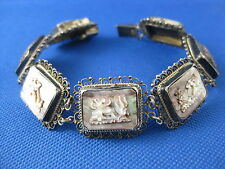 VINTAGE 800 SILVER FILIGREE CAMEO ABALONE SHELL BRACELET SIZE 7.5 INCHES LONG