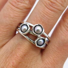 PANDORA Retired 925 Sterling Silver Three Grey Pearl Ring Size 9