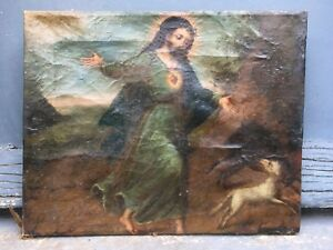 Gorgeous, Colonial (XIX) - Oil on canvas (relined) - Christ and animals