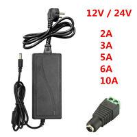 12V 24V 5A 10A LED Trafo Netzteil Adapter Power Supply f. LED Stripe Streifen