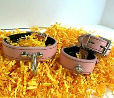 Genuine Collar Cuffs Leather Collar and Cuff Set Pink Locking Collar Cuffs Hand