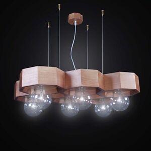 Suspended Lights Contemporary Wooden A 6 Lights Bga 2547/6