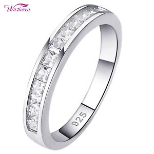 Wedding Band Engagement Eternity Ring For Women Princess 925 Sterling Silver Cz