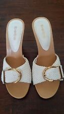 BEBE Woven White Strap Leather Heels Gold Buckle Rhinestones Resort Spring 9